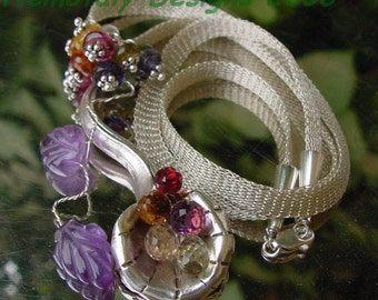 Multi-Gem Briolette Wire Wrapped Necklace ... Silver Flower... Sterling Silver Mesh-Made-to-Order FREE Shipping