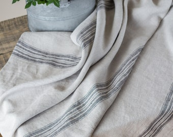 Farmhouse natural rough linen burlap grain sack style French stripe table cloth overlay
