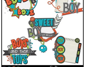 Boys Word Art Clusters, 5 Large clip art clusters, Boys themed scrapbooking clip art, *Instant Download*