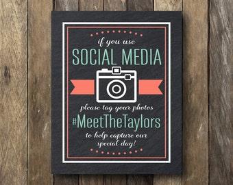 Social Media Hashtag Sign - Printable Social Media Sign - Wedding Signs - Hashtag Printable