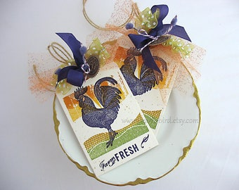 Farm Fresh Rooster Gift Tags~set of 2~Ranch~Country Kitchen~Homespun Farm~Chicken~Sunset~orange~yellow~purple~green~Tuscany~Farmhouse