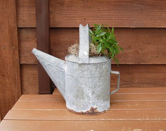 Galvanized Watering Can, Holey Watering Can, Vintage Garden Watering Can, Water Can Planter, Holey Galvanized Water Can