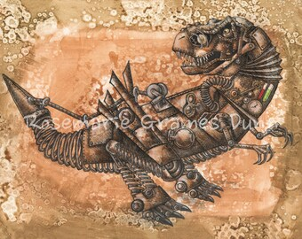 Tricked out T-rex Steampunk Dinosaur limited edition fine art print