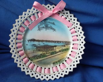 Vintage Ribbon Plate A Present From Worthing with ribbon