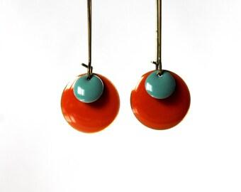Long earrings enamel Orange verdigris