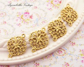 Round Brass Floral Filigree Connectors Settings 17x13mm  - 6