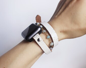 Double Wrap Apple Watch Band,Apple Watch Band 38mm,Apple Watch Band 42mm,Custom White Leather iWatch band Features Amazon stone beaded chain