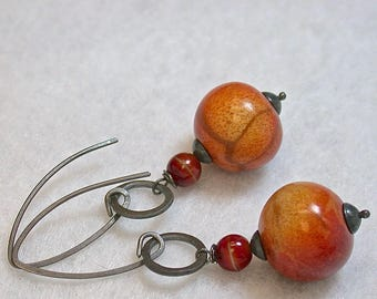 Vintage Apple Coral Bead Earrings,Vintage German Glass Beads, Handmade Oxidized Sterling Silver Ear Wires,Handmade Sterling Silver Rings