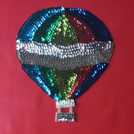 Sequin Balloon Patch | vintage hot air balloon handmade hand stitched rainbow hot air balloon large patch piece kitsch hipster art gift fun