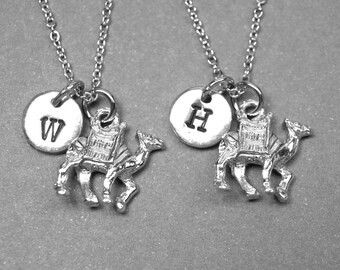 Best friend necklace, camel necklace, animal necklace, safari necklace, bff necklace, friendship necklace, best friend jewelry, initial