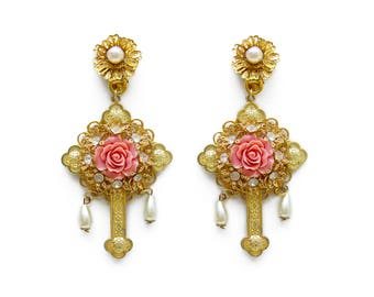 Opulent Dramatic Baroque Dangle Earrings Rose Crystals Gold Cross Rhinestone Glamour pink