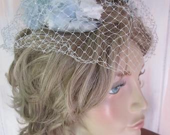 Vintage 1950s Flowered Juliet Cap & Veil