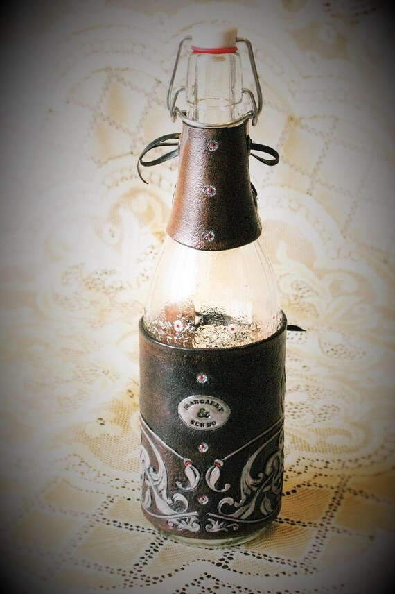Deco dressing table bottle hides for reception tasting tooled leather