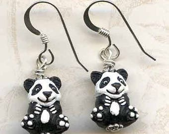 Perfect Pandas Sterling Silver Earrings