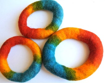 Felted wool bangle bracelet, wool ring for jewelry making and children's play