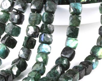 Green Labradorite 3D Cube Emerald Green Faceted Gems, 8mm to 10mm, Your Choice of 1, 2, 4, 6, 8 or 10 Gemstone Cube, Emerald Green Gems KJ