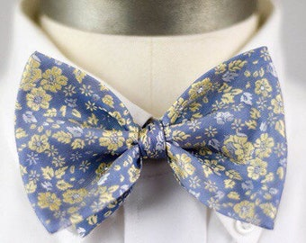 Blue & Gold Floral Bow Tie