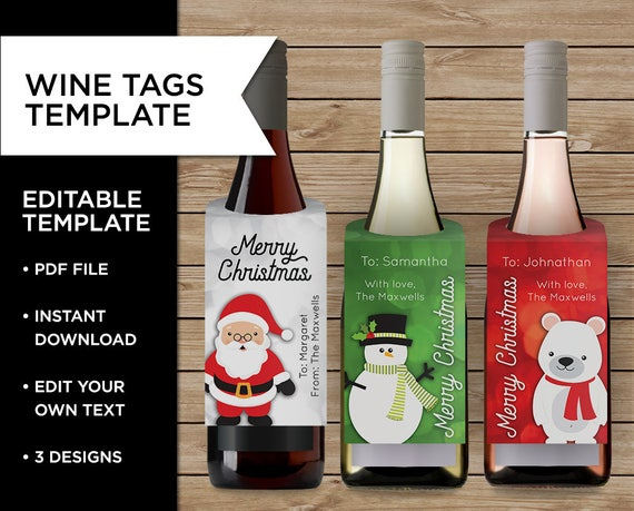 Christmas Wine Tags Wine Bottle Tag Christmas Cards