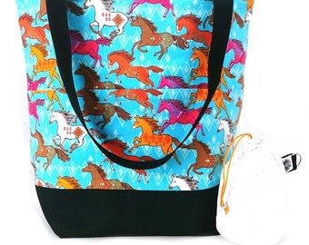 Studio Bucket Tote - Knitting & Crochet Large Project Bag - Wild Horses