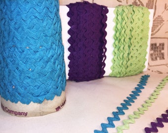 Ric Rac  - Turquoise Rick Rack - Purple Ric Rac - Mint Green Medium 3/8 inch Ric Rac - Vintage Ric Rac - Cotton Ric Rac Trim - 1 yard - N01