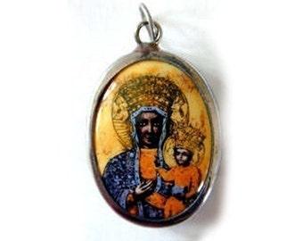Vitreous Enamel Our Lady of Czestochowa Black Madonna Pendant (JWL-R)