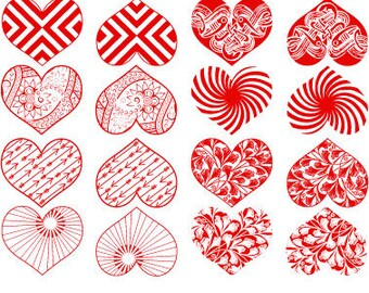 Modern Hearts - Ceramic Decals, Glass Decals or Enamel Decals