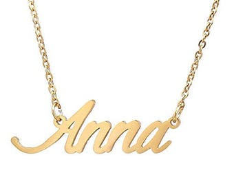 Custom Name Necklace Personalized Initial Necklaces in Golden Silver Anna