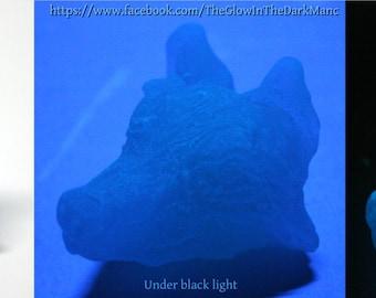 Spirit Wolf II in Blue - Glow-in-the-dark wolf head