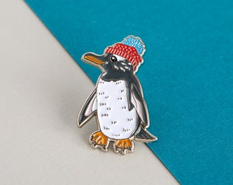 Penguin Enamel Pin Badge - Birds in Hats Gentoo Penguin in a Bobble Hat Pin Badge, Lapel Badge, Hat Pin, Bird Pin, Penguin Pin