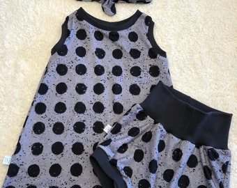 SALE dress, shorties and headband, mandala, baby girl clothes