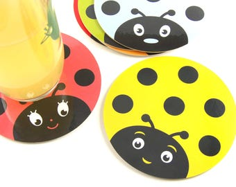 Set of 6 coasters for coaster coaster Ladybird children child kids birthday table decoration
