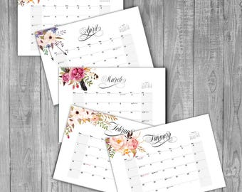 Monthly Desk Planner 2018, Desk Calendar 2018 Printable Calendar Printable Office Planner Printable Calendar Planner, Digital Download