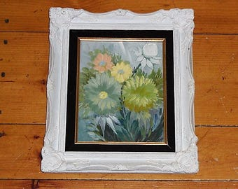 Vintage Floral Oil Painting in Ornate Wood Gesso Frame