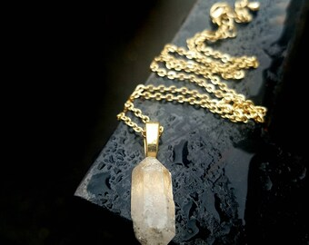 Raw Quartz shard gold necklace - the Give and Take