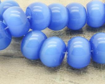 Set of 15 cat eye rondelles beads