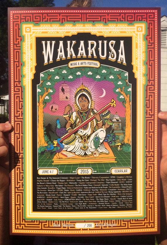 Wakarusa Music Festival 2015 Poster Print STS9 Big Gigantic Ben Harper Saraswati