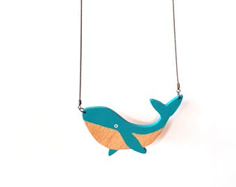 Whale necklace whale pendant whale jewelry whale fairytale gift Wooden necklace gift for her Blue whale necklace ocean jewelry