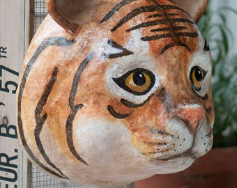 paper mache, tiger, head wall mount, home decor, animal head, wall hanging