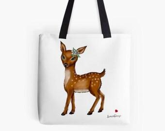 Deer bag, deer gift bag, deer purse, Tote bag for women, women tote bag, women gift bag, tote women, flower deer, deer gifts, woodland fawn