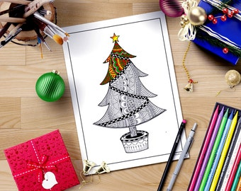 Zentangle inspired Christmas coloring page,Christmas tree coloring for adults,printable coloring,adult coloring book,christmas coloring book