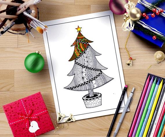 Zentangle Inspired Christmas Coloring PageChristmas Tree
