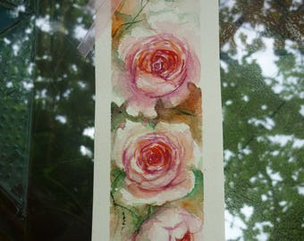Bookmarks for books, Wedding invitation, wedding favor, watercolour bookmark, Original watercolor bookmark roses, Roses Painting, gift idea