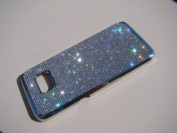 Galaxy S7 Edge Case Clear Diamond Rhinestone Crystals on Silver Chrome Case. Velvet/Silk Pouch Bag Included, Genuine Rangsee Crystal Cases