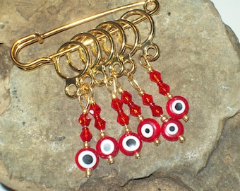 Stitch Markers, Stitch Markers for Knitters, Red Evil Eye Beads and Crystals Stitch Markers Gift for Knitter by hipknitta