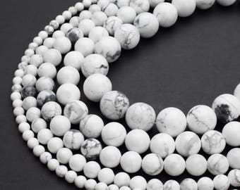"Natural White Howlite Beads 4mm 6mm 8mm 10mm 12mm Round 15.5"" Full Strand Wholesale Gemstones"
