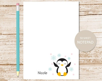 personalized notepad . penguin notepad . penguin note pad . girls, youthful . personalized stationery stationary