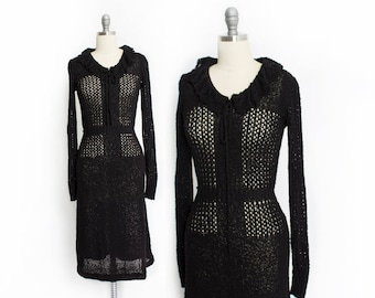 Vintage 1970s Dress - Black Crochet Knit Fitted Day Dress 70s - Small