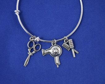 Hairdresser Bracelet....Beautician Bracelet.....Expandable Silver Plated  Bangle Bracelet