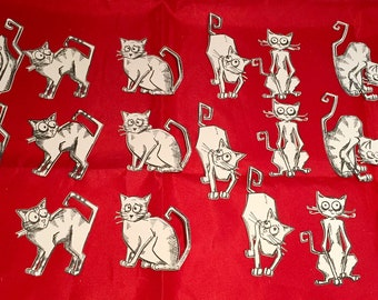 Tim Holtz Die Cuts * Crazy Cats * Hand Stamped * 18 Pieces * 6 Different Cats - 3 of Each! * Add to your own cards * Cute * Funny!