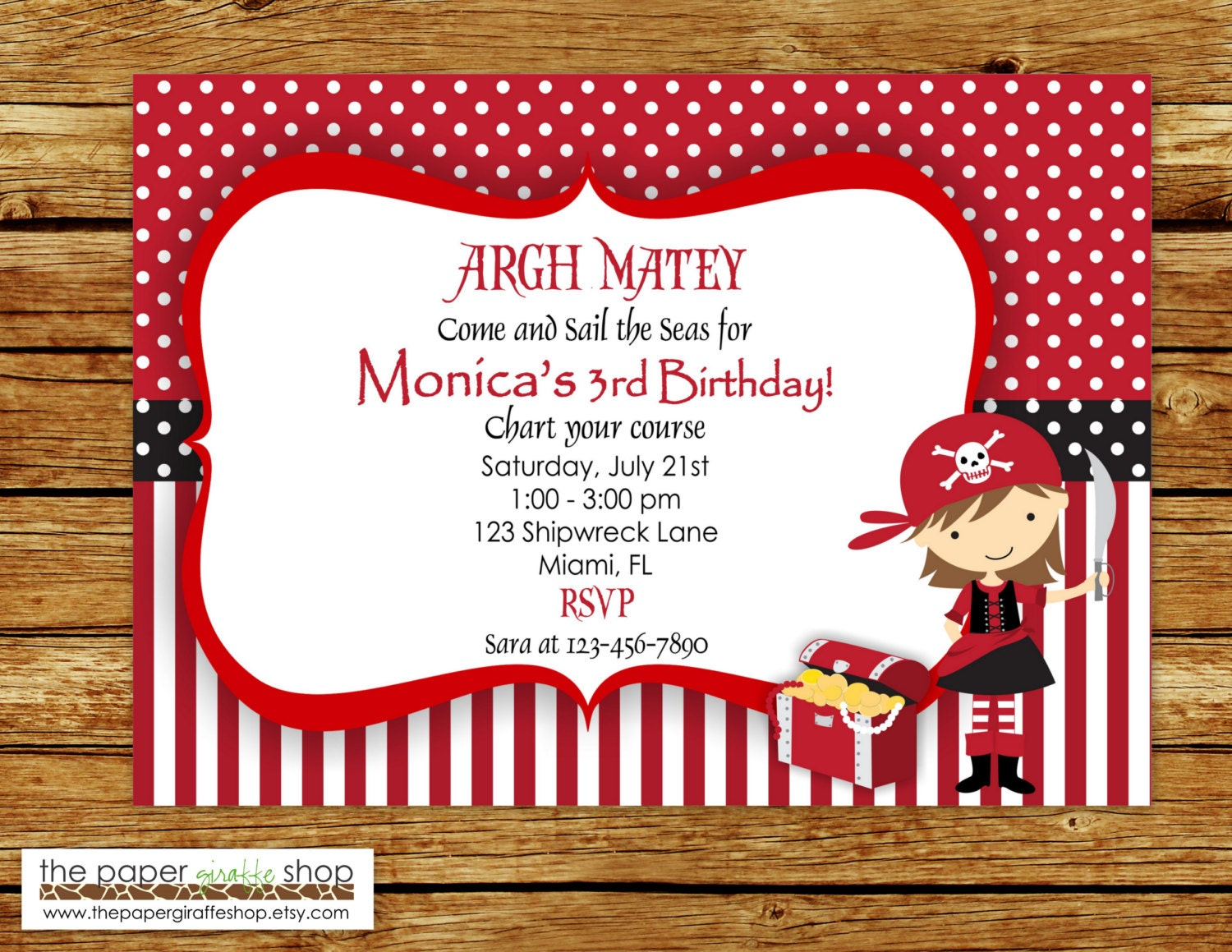 Modern Princess Pirate Party Invitations Frieze - Resume Ideas ...